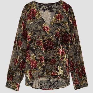 Zara Devore Velvet Wrap Kimono Blouse Medium